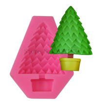 2017 new Christmas Tree Shape Silicone Cake Soap Mold Fondant Mold Chocolate Cupcake Jelly Decoration Baking Tool Moulds FQ3303