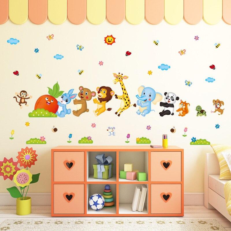 Cartoon Animal Friends Kids Baby Nursery Decals Wall Stickers DIY Flower Home Decor Door Bathroom Sticker Poster Wallstickers 2