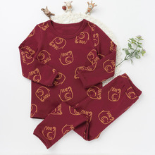 Fashion Children Elephant Pajamas Suits Girls Boys Cotton Sleepwear Long Sleeve Top Tee Pants Character Pattern Clothing Sets(China)