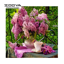 3D DIY Diamond Painting Cross Stitch Purple Floral Vase Crystal Needlework Diamond Embroidery Full Diamond Decorative BJ561
