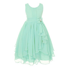 Fashion vestido summer wedding dresses casual 13 colors kids cocktail dress asymmetrical girls chiffon dresses for 12 year olds
