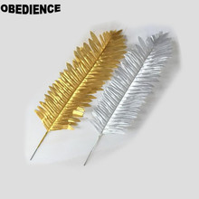 OBEDIENCE New 10Pcs Artificial Plants Gold Sliver leaf Simulation Wedding Home Party Decoration Flower Spring Grass(China)