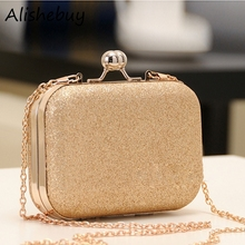 Elegant Mini Party Bag Women Ladies Clutch Chain Evening Bag Shinning Sequins Bag Metal Purse Wallet Golden Blue Hasp Bags 16811