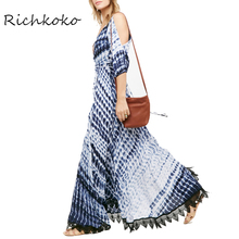 Richkoko Apparel Bule Ocean Style Kimono Blue Sexy Animal Grain Plunge V-Neck Cold Shoulder Half Sleeve Ankle-Length Dress