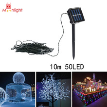 BEST 10M 50PCS LED Strap Light Solar String Fairy LED Garden Party Lights Festival Lights For Xmas Outdoor Tree Decoration