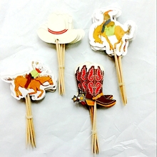 48 pcs The Cowboy Cupcake Toppers Cake Party Decorations Festive Holiday Event Kids Birthday Wedding family Party Favors Supply