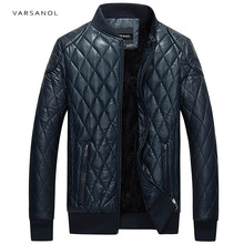 Varsanol Brand Leather Bomber Jacket Men Long Sleeve Zipper Loose Casual Warm Outwear Solid Waterproof Overcoat Plus Size M-4XL (China)