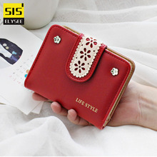 High Quality Bifold Women Wallets Flower Lace Multifunction Small Female Coin Purse Card Holder Short Lady Clutch Mini Money Bag(China)