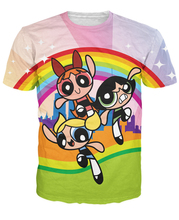 Women Men 3d PowerPuff Girls T-Shirt Bubbles Blossom Buttercup Cartoon 90s Cute t shirt Rainbow tees femme camisetas camisa