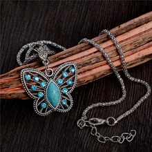 Atreus Cute Hollow Butterfly Shape Design 1pc Flash Silver Color pendant Natural Stone necklace For Girl Lady Women Wholesale(China)