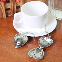 1pcs New Heart Shaped Tea Infuser Spoon Strainer Stainless Steel Steeper Handle Shower Free Shipping