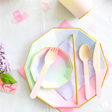 Colorful Disposable Paper Tableware Sets Gold Rim Paper Drinking Straws Cups Plates Utensils Wedding Birthday Party Decoration(China)