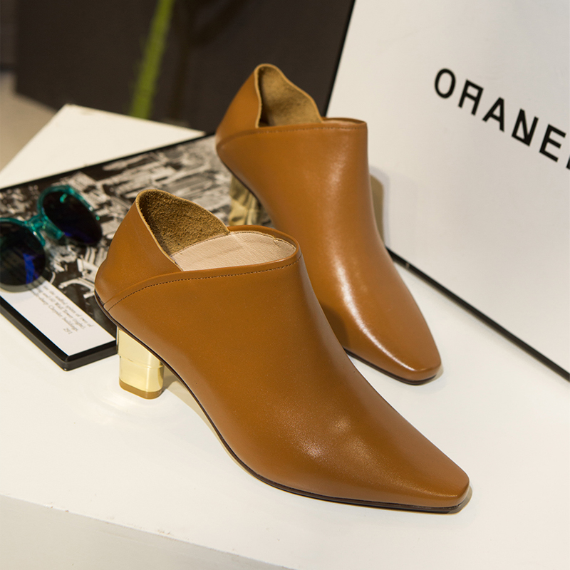 Womens Med Heel Pointed Toe Autumn Pumps Brand Designer Genuine Leather Plus Size Female Footwear Ladies Elegant Heeled Shoes<br><br>Aliexpress