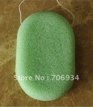 4pcs/lot 3colors Oval 100%Natural Green Tea Konjac Facial & Body Sponge Facial Wash Cleaning Puff 107*67*28