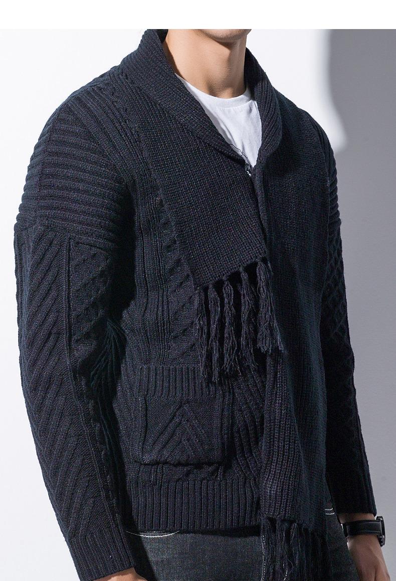 Winter Men Cardigan Coat Thicken Loose Fit Warm Turtleneck Sweater Men Autumn Knited Male Sweatercoat Black Brand Muls M-4XL-05