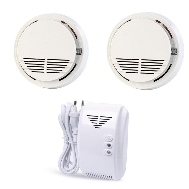 Smoke Alarm Wireless Fire Detector Natural Gas Leak Detector Sensor 433MHz  For Home GSM Alarm Security System SM-100/GL-100A<br>