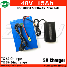 48v e Bike Battery 15Ah for 1080w Motor Power with 54.6v 5A Charger Built in 30A BMS Scooter Lithium Battery 48v Free Shipping