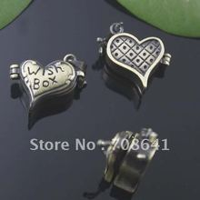 20x15mm Vintage Antique Bronze tone Brushed Brass Love Heart Wish Prayer Box Photo Frame Locket Pendant charms(China)