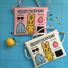 Patchwork Harajuku Women Leather Pastel Pink Cute Shoulder Bag for Girls Casual Rabbit Crossbody Bags Embroidery Phone Bag Mini