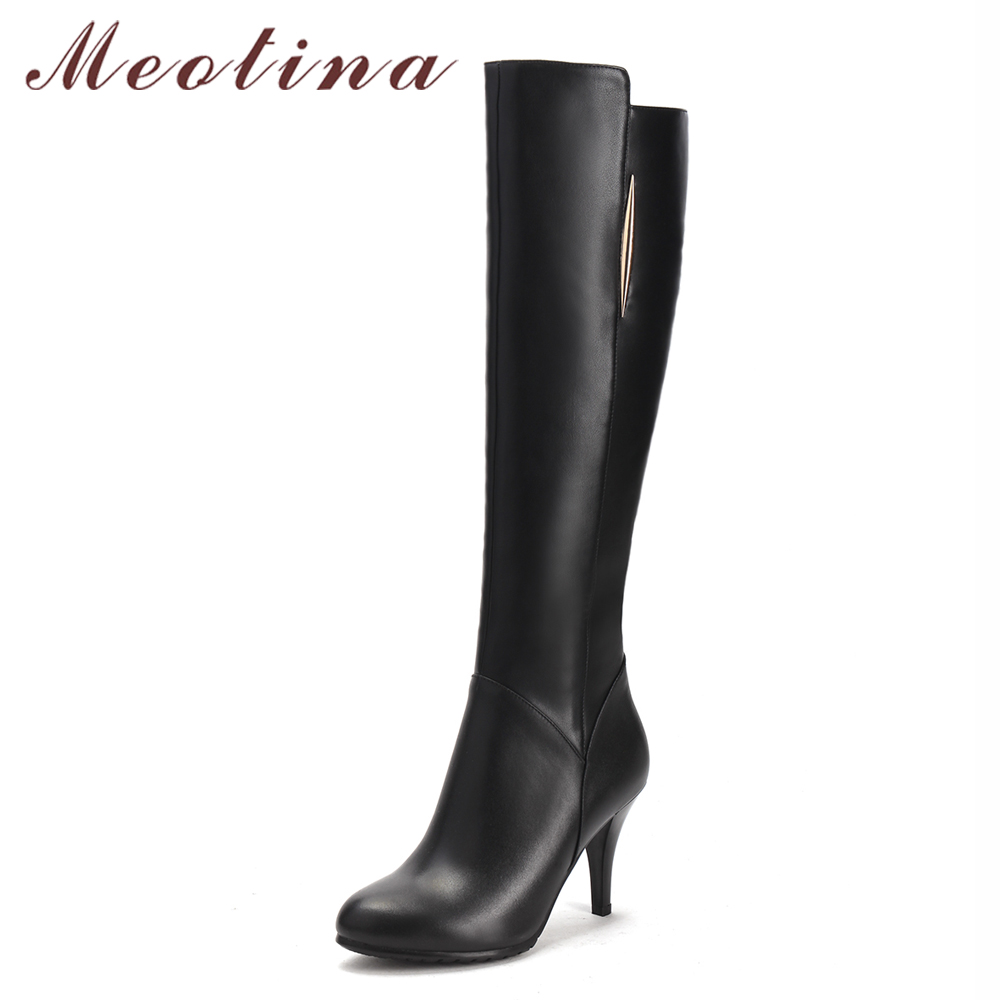 Meotina Genuine Leather Women Knee High Boots Boots High Heel Boots Real Leather Boots 2017 Winter Ladies Shoes Black Clearance<br>