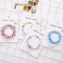 Flower Wreath Sticky Notes 30 Sheets Watercolor Flower Memo Pad Mini Note Book Stationery Office School Supplies 022