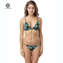 X-HERR Hot Sale Leaf Marble Printed Plus Size Swimwear Wire Free With Pads String Bottom Bathing Suit Women Beach Sexy Swimsuit