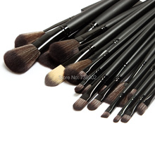 Best Professional 32 PCS Natural goat hair Cosmetics Makeup Brushes Set with Black Zipper Leather Bag, Brand Make Up Brushes(China)