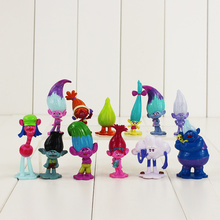 12pcs/lot Trolls Figure Toy Poppy Branch DJ Suki Biggie Guy Diamond Smidge Fuzzbert Cloud Guy With Long Hair Mini Model Dolls
