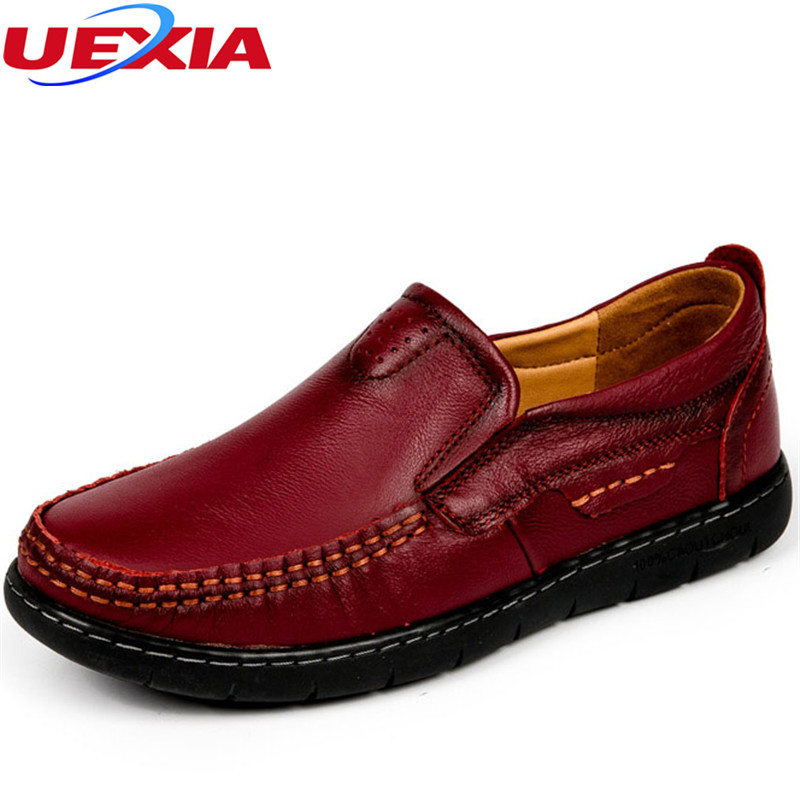 Women Shoes Leather Loafers Sewing Mmother Casual Fashion Slip-on Breathable Comfortable Dress Solid Flats Driving Work Footwear<br>