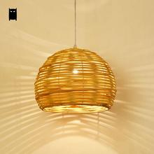 Round Wicker Rattan Shade Pendant Light Fixture Rustic Asian Japanese Hanging Lamp Luminaria Design Dining Table Room Restaurant