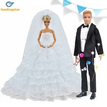 LeadingStar Princess Barbie Doll White Eight-layers Lace Wedding Dress and Prince Ken Doll Suit Clothes Set zk30(China)