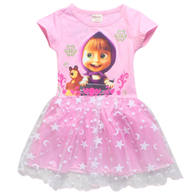 a10e0b9dec0 2018 Summer Short Sleeve Fancy Dress Princess Birthday Party Costume Masha  and Bear Cartoon Cute Style
