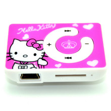 Free Shipping Lowest Price Cartoon Hello Kitty MP3 Music Mini Clip Player With TF/SD Card Slot Support 8GB Memory