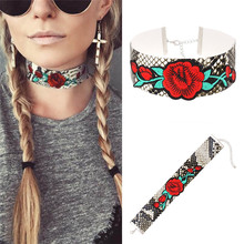 Punk Snake Skin PU Leather Choker Necklace Ethnic Jewelry Embroidery Rose Flower Bib Collar Necklace For Women