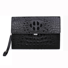 Crocodile pattern Genuine cow Leather envelope bag Men clutch wristlets bag Cowhide Men mobile phone Bag male Handbag money bag(China)