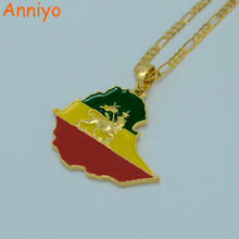 Anniyo Ethiopian Flag & Lion Map Pendant Necklace for Women/Men Gold Color/Silver Jewelry Map Chain #008606