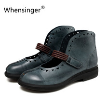 Whensinger - 2017 New Spring Woman Shoes Genuine Leather Round Toe Hook & Loop Design 7893