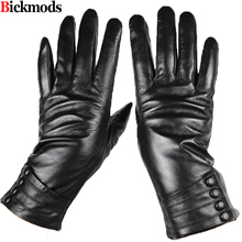 2017 Sale Guantes Mujer Sheepskin Gloves Female New Button Style Thin Liner Leather Imitation Rabbit Hair Thick Free Shipping(China)