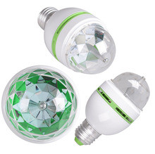 Crystal Stage Rotating Color Light Bulb Lamp Party Disco Bar E27 3W RGB LED E26