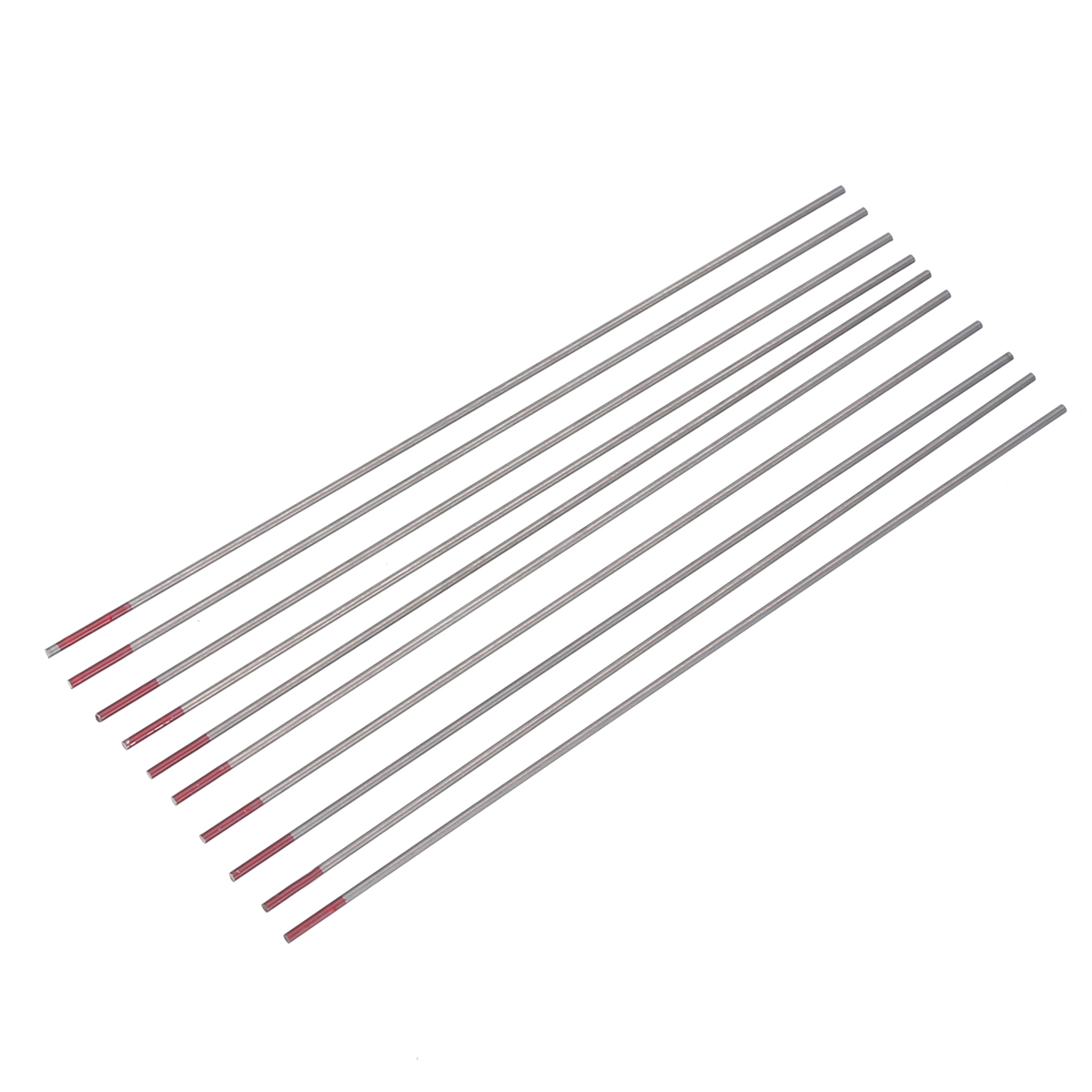 10Pcs TIG Welding Tungsten Electrodes Rod Mayitr 2% Thoriated Tungsten Electrode 1.6x150mm WT20 Red for Welding Carbon Steel