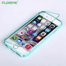 FLOVEME Fashion Soft Transparent tpu Gel case for iPhone 6 6s 7 Plus Flip Cover Case Candy Color Phone cases for iPhone6 6 s 7
