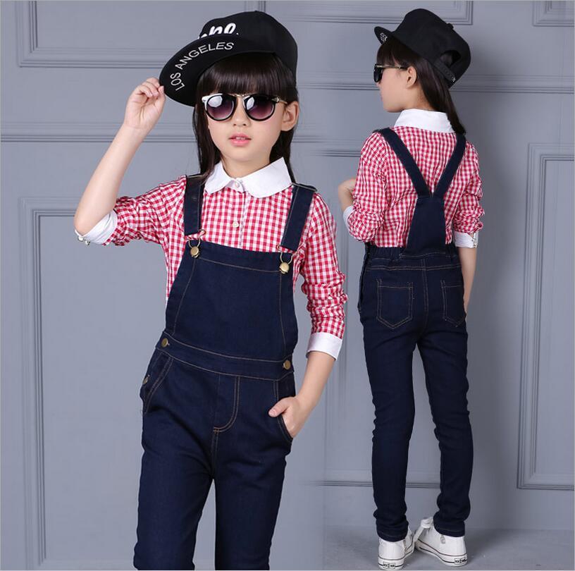 Toddler Girl Clothing Fall Long Sleeve Fresh Shirt Two-piece Conjunto Infantil Menina Girs Denim Cotton Strap Pants Sets<br><br>Aliexpress