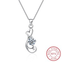 18inch 925 Sterling Silver Fine Jewelry Necklace Pendant Heart Collar Women Female Korean Ribbon Jewels Wedding Party Gift N0032