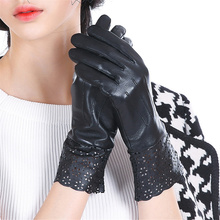 2018 New Hot Ladies Genuine Leather Gloves Warm Winter Driving Sheepskin Mittens Black Thin Lining Silk Lining 4-5(China)