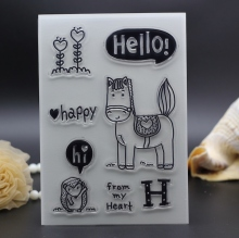 11X16CM Clear Stamps DIY photo Scrapbooking Card Making baby horse happy hello letters rubber stamp silicon transparent stamp
