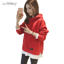 LOSSKY Fake Two Pieces Hoody Women Hoodies 2017 Autumn Casual Pullovers Long Sleeve Loose Fashion Patchwork Sweatshirt For Women(China)