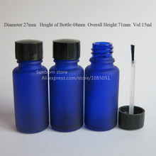 10 X 1/2 oz blue glass brush bottle, 15ml blue frosted glass bottle,blue Essetial oil bottle, Serum Brush