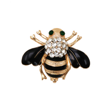 OneckOha Fashion Jewelry Enameled Black Bee Brooch Pin Gold And Silver Colors Animal Pin Women's Jewelry Brooches(China)