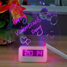 Keythemelife 1 pcs LED Fluorescent Digital Alarm Clock with Message Board and Pen Snooze Clock Calendar Desk Decor Clock EA(China)