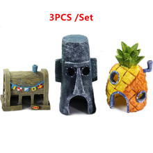 1 Set Aquarium Ornaments Fish Tank Decoration SpongeBob Figures Pineapple House & Squidward Easter Island & Krusty Krab Decor(China)